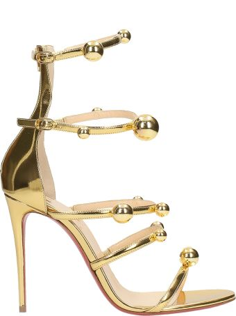 Christian Louboutin Atonana Gold Specchio Leather Sandals