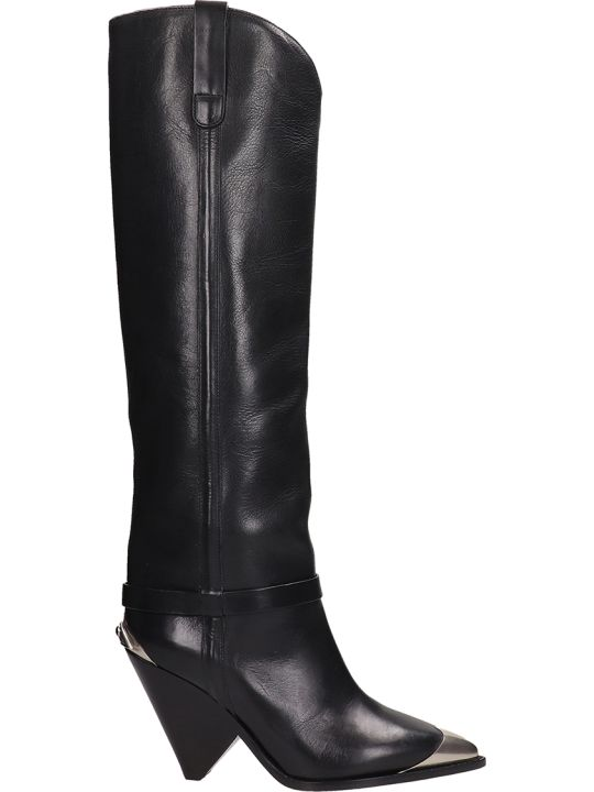 Isabel Marant Black Leather High Boot