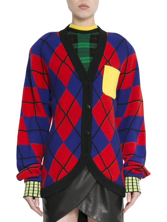 Versace Red And Blue Argyle Wool Cardigan