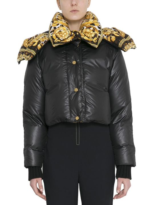 Versace Black Cropped Puffer Coat