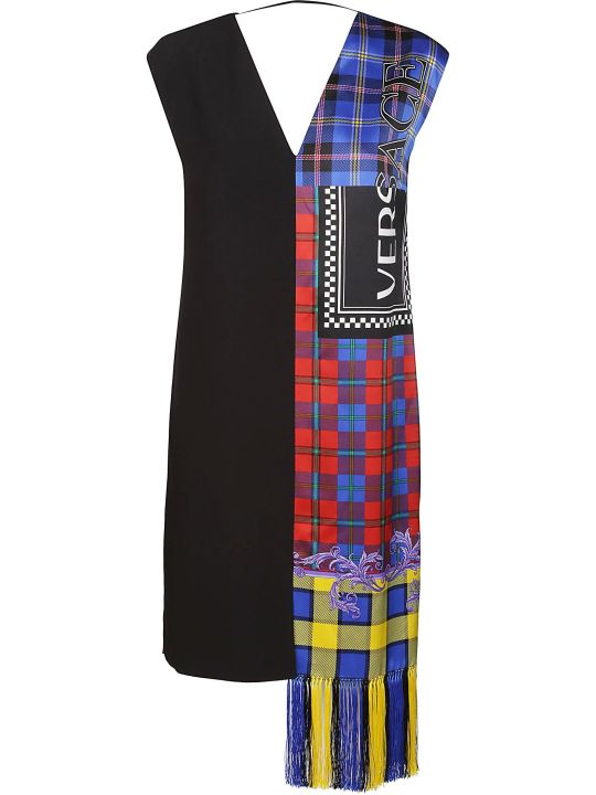 Versace Logo Knit Fringe Tartan Shift Dress