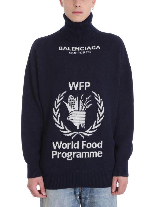 Balenciaga Wfp Blue Wool Sweater