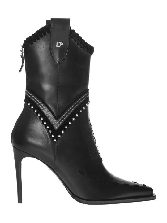 Dsquared2 Stitched Western Ankle Boots