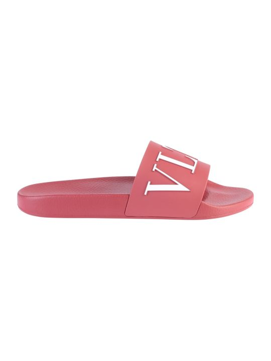 Valentino Garavani Red Branded Slide Sandals