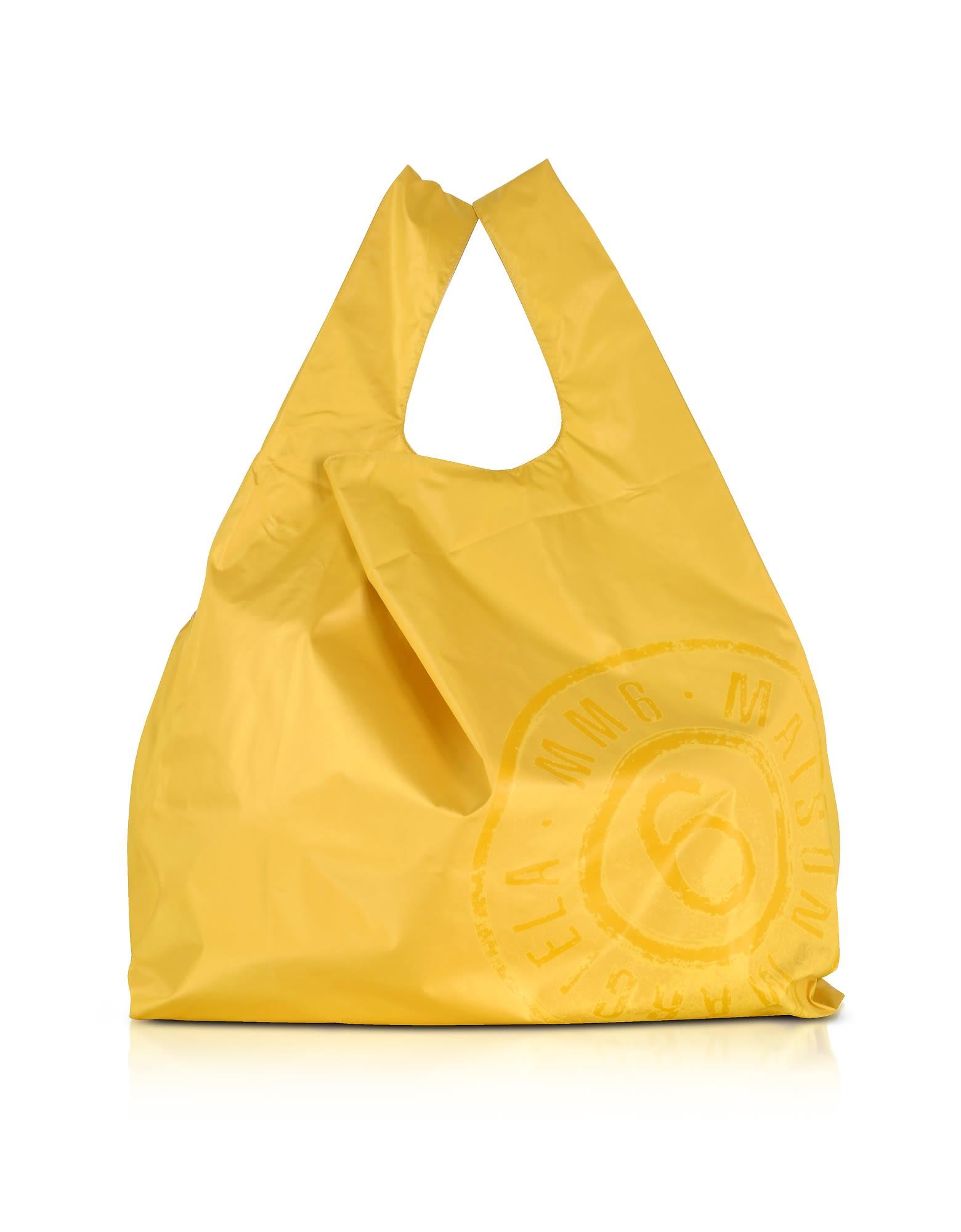 mm6 maison margiela - Mm6 Maison Martin Margiela Yellow & White Double Face Nylon Market Bag W/logo