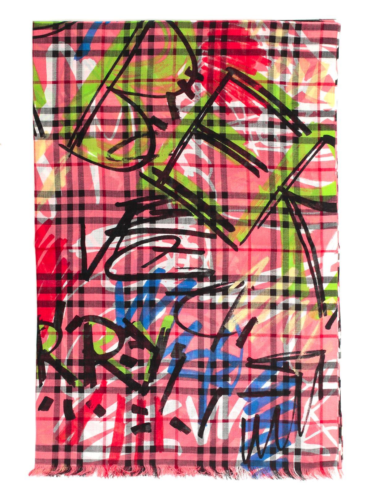 Burberry Graffiti Print Checkered Scarf