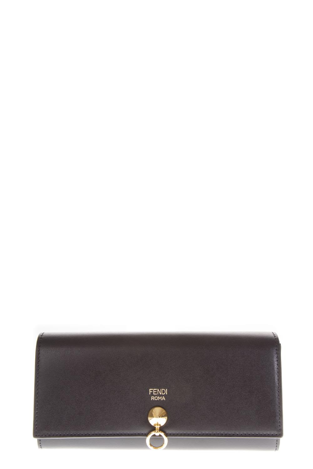 FENDI BLACK CONTINENTAL LEATHER WALLET