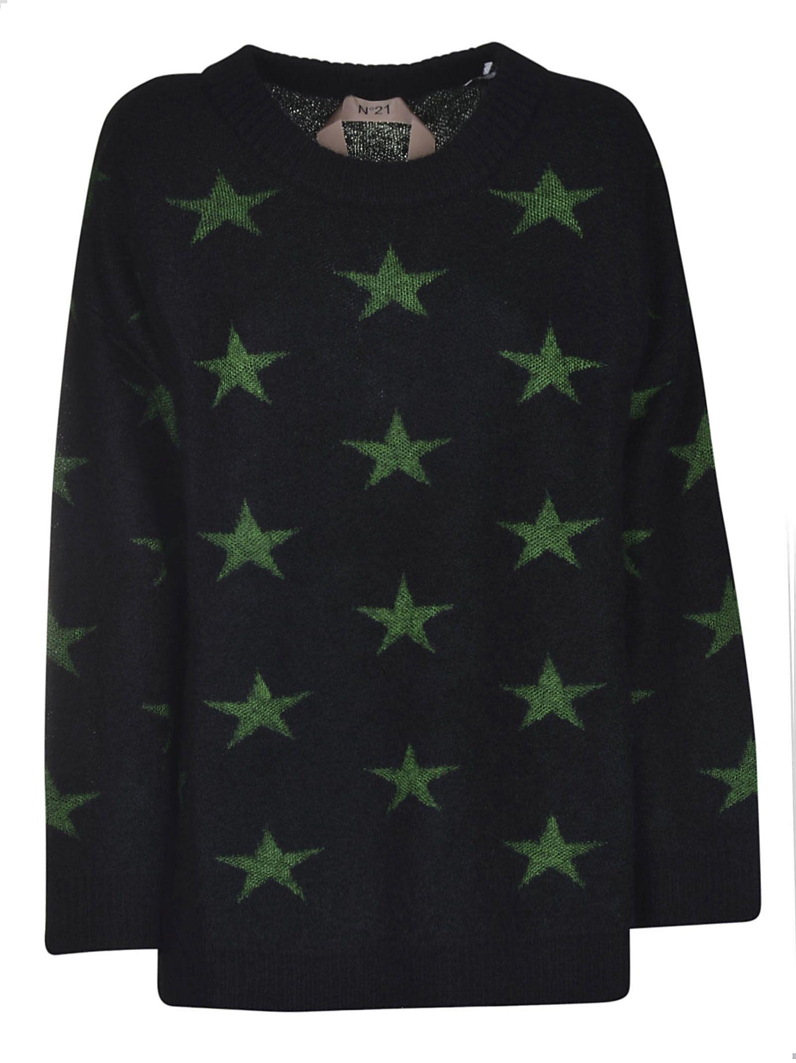 Contrasting Stars Sweater in Nero