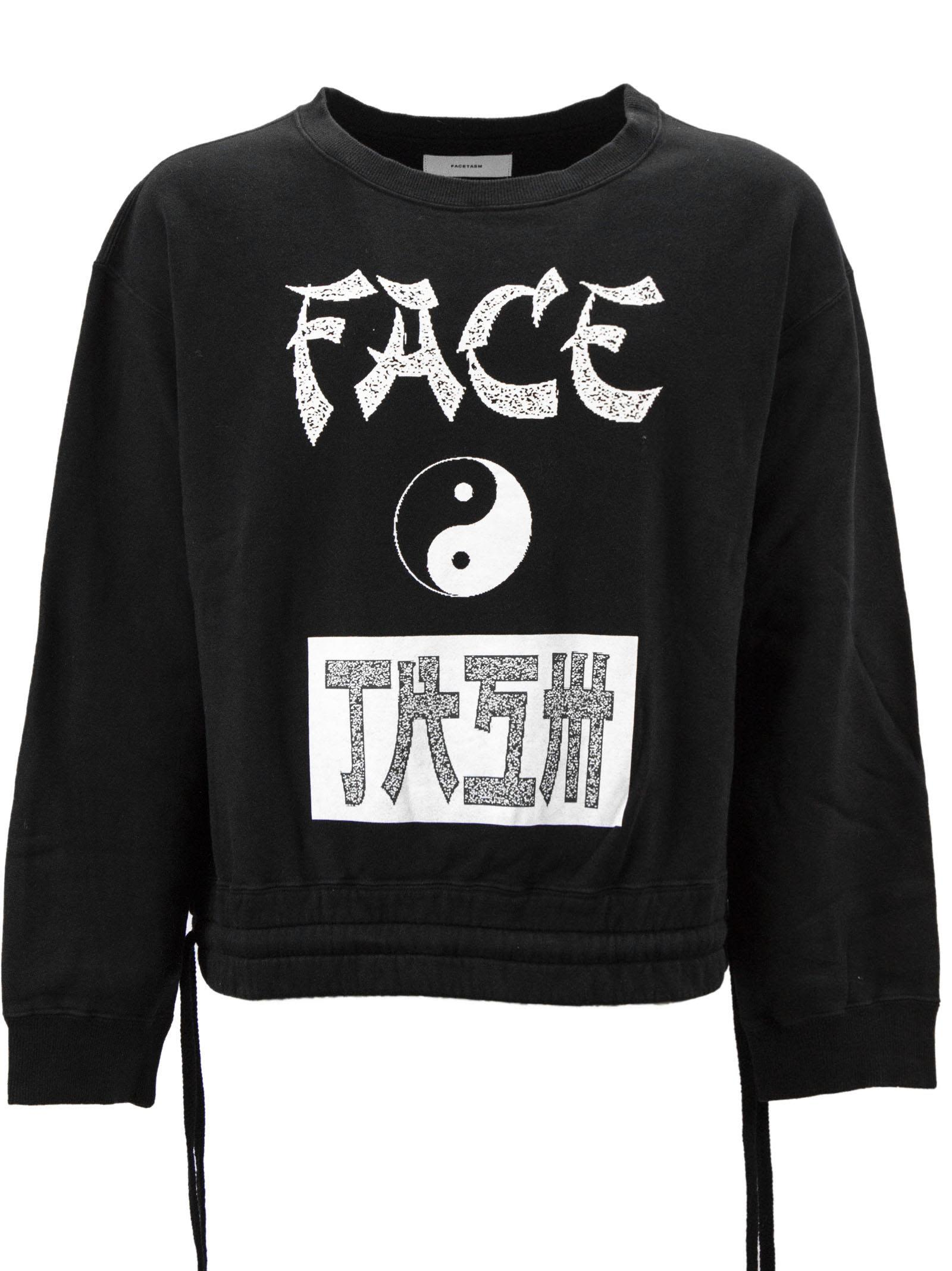 FACETASM Black Cotton Yin-Yang Print Sweatshirt.