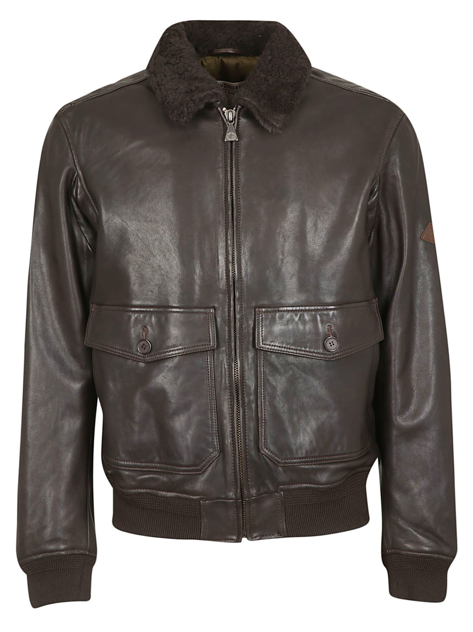 ROY ROGERS Zipped Leather Jacket in Moro