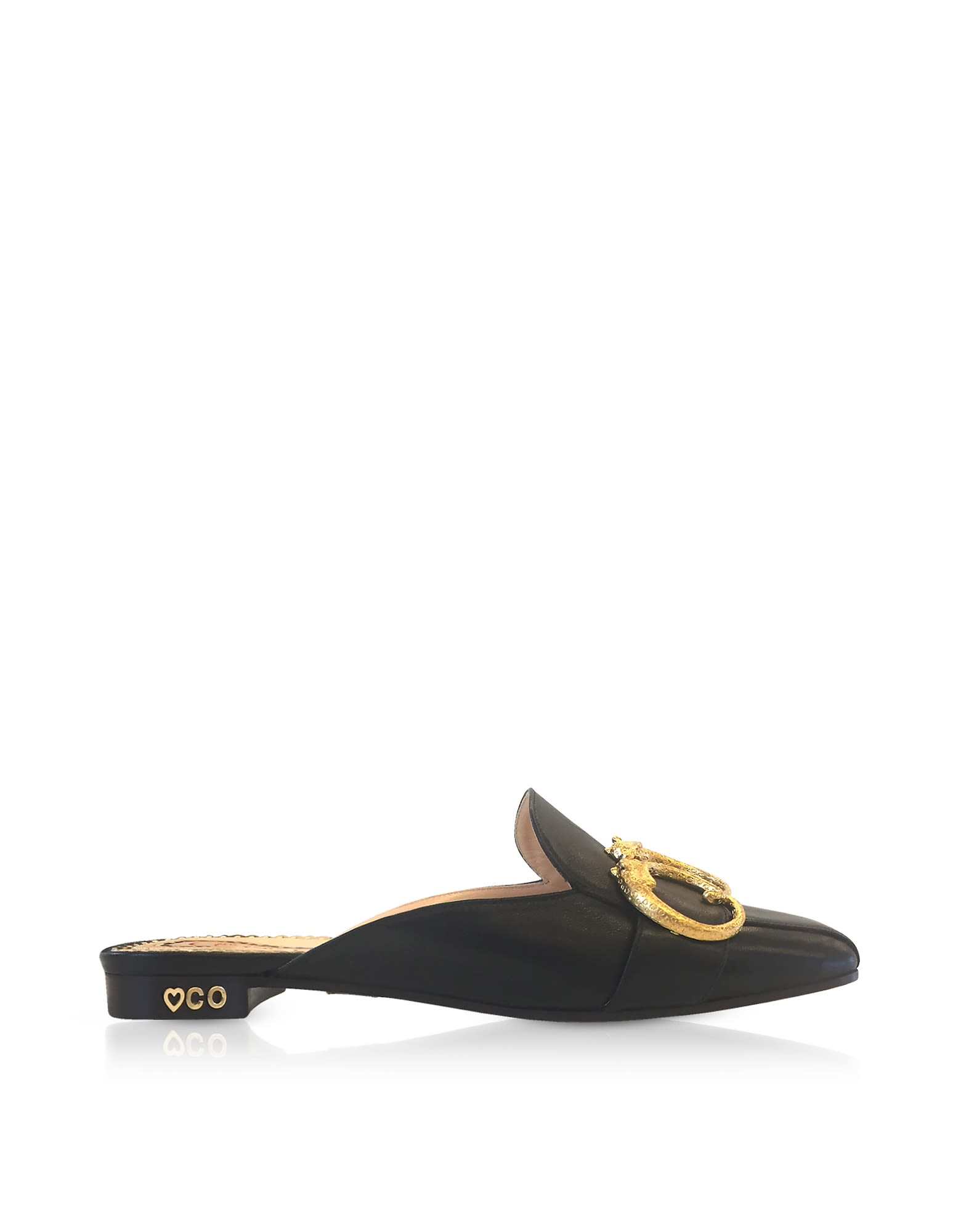 CHARLOTTE OLYMPIA BLACK LEATHER MULES