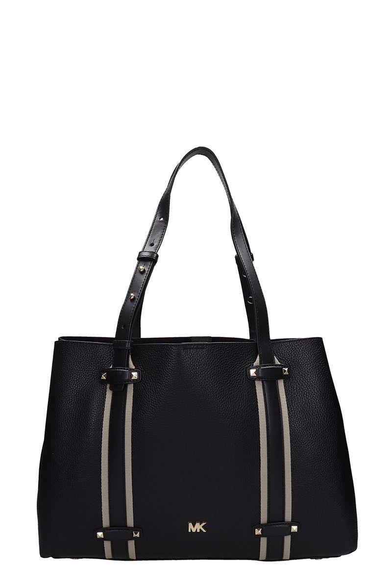 Michael Kors Black Grained Leather Tote Bag
