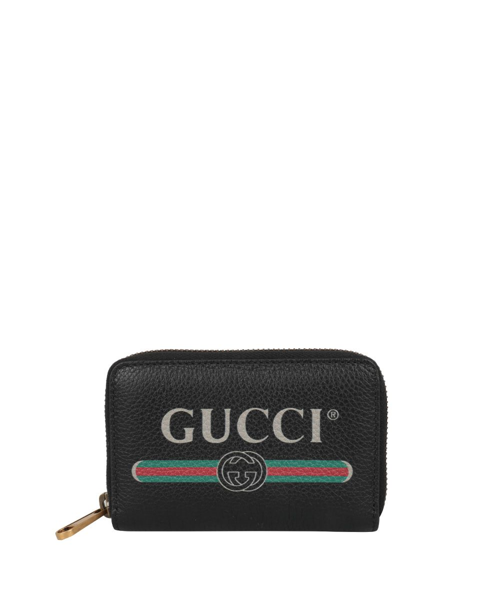 GUCCI PRINT LEATHER CARD HOLDER