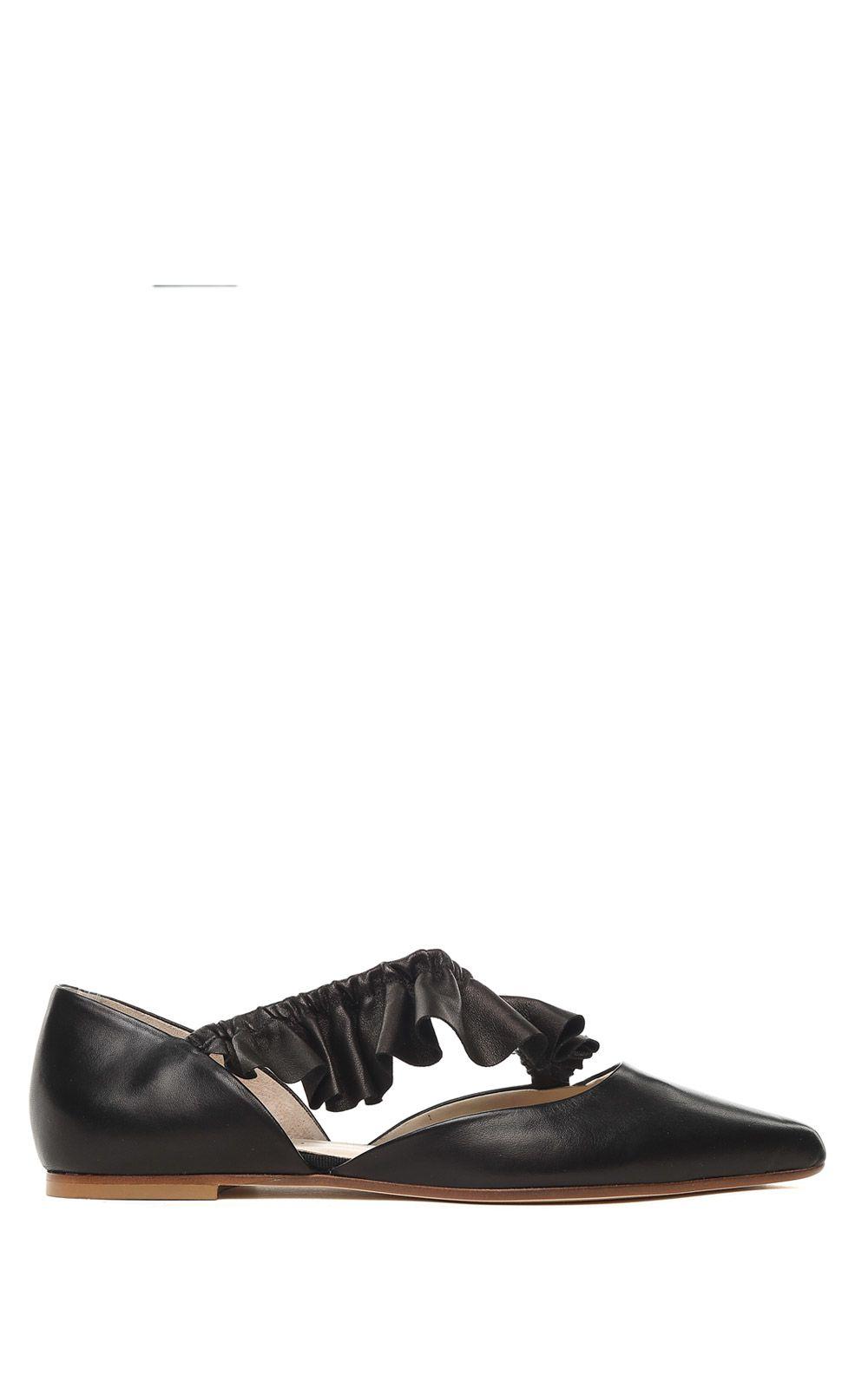 Malika uched leather ballet flats Anna Baiguera zhgEC554Nr
