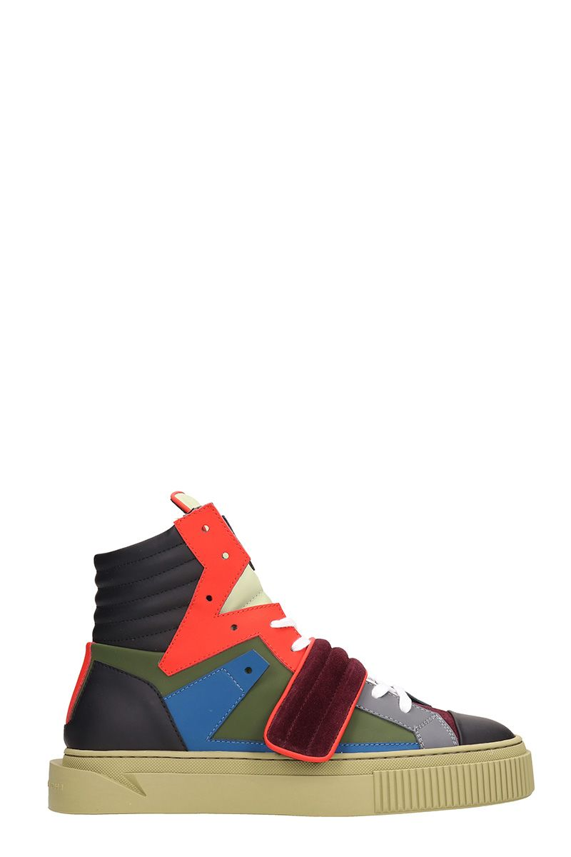 GIENCHI Hypnos Multicolor Leather And Suede Sneakers in Green