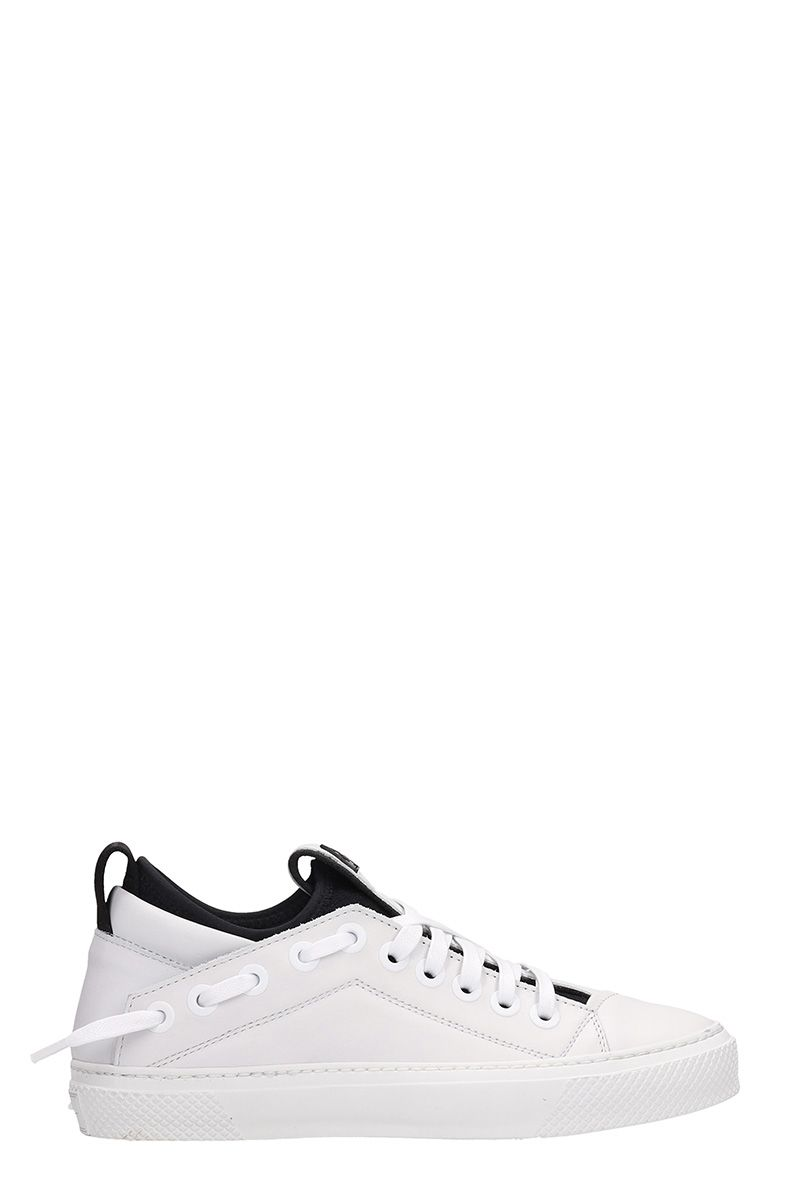BRUNO BORDESE Triangular White Leather Sneakers