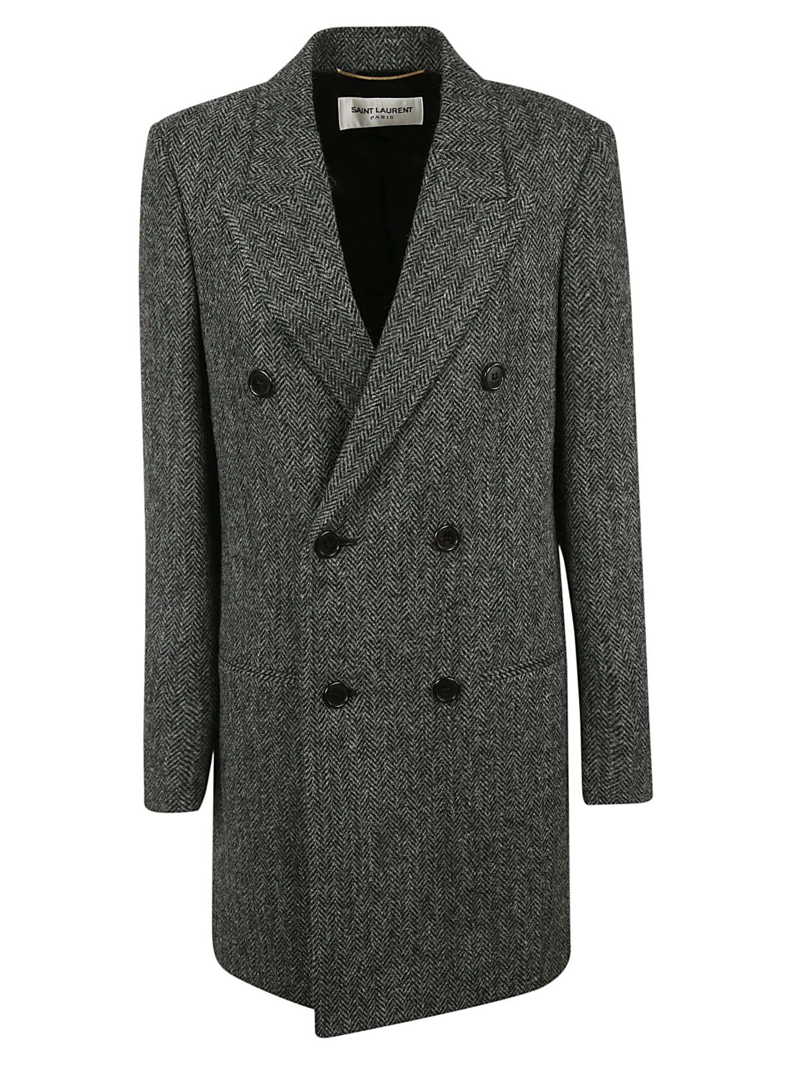 SAINT LAURENT Grey Classic Double-Breasted Coat