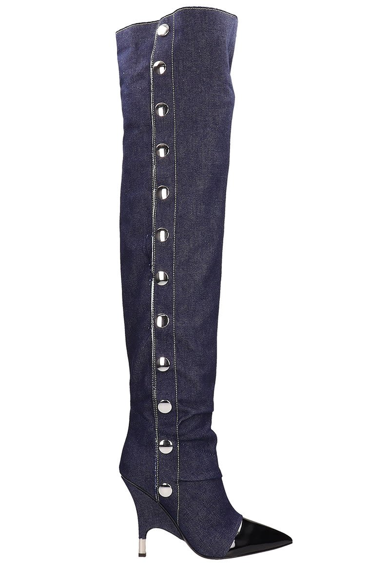 Blue Cotton And Calf Leather Harper Boots