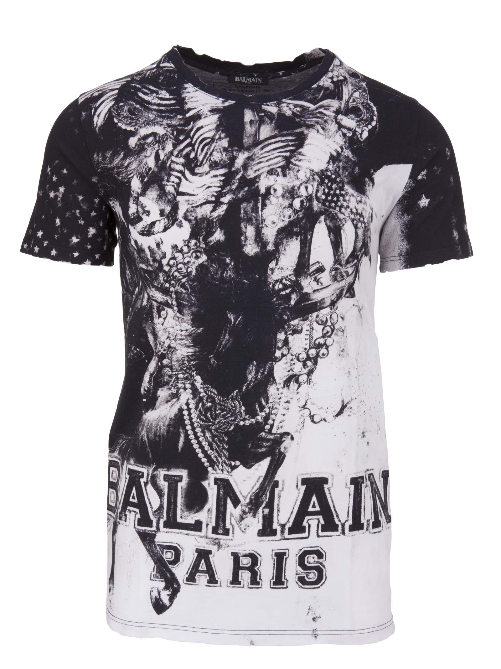 balmain balmain paris t shirt nero bianco men 39 s short sleeve t shirts italist. Black Bedroom Furniture Sets. Home Design Ideas