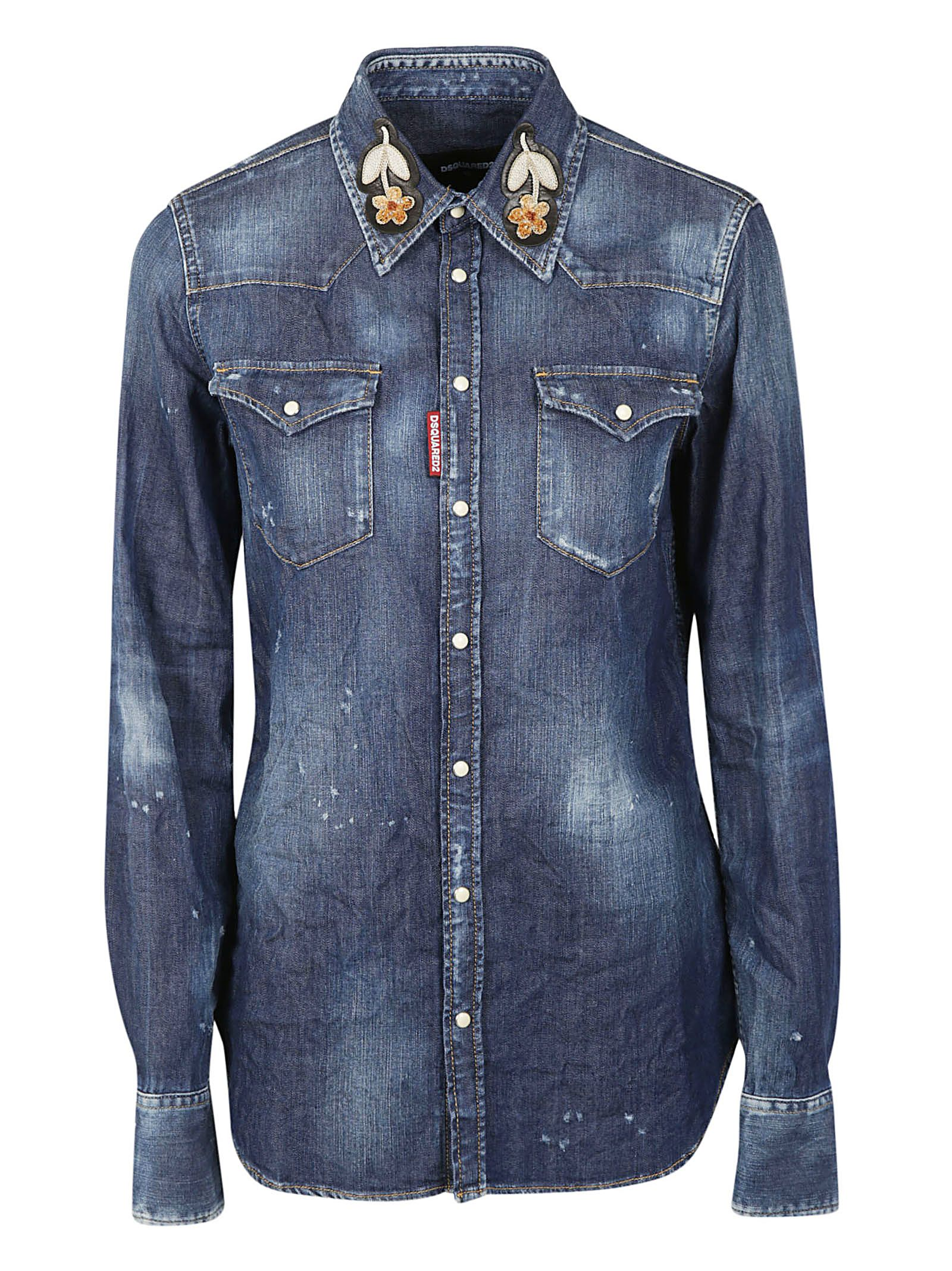 Collar Patched Denim Jacket in Blue