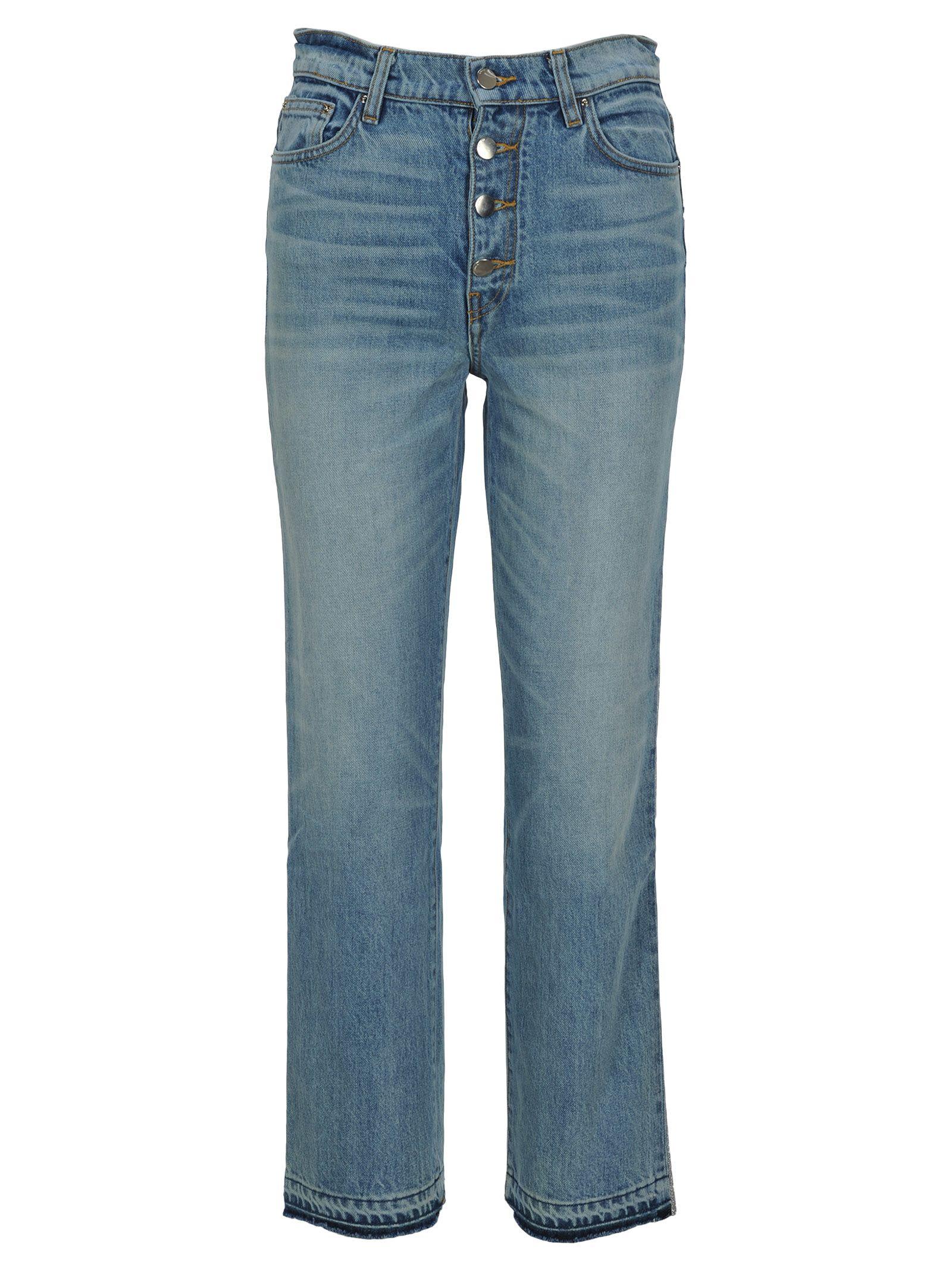 Amiri Glitter Track Straight Jeans, Vintage Indigo/Silver