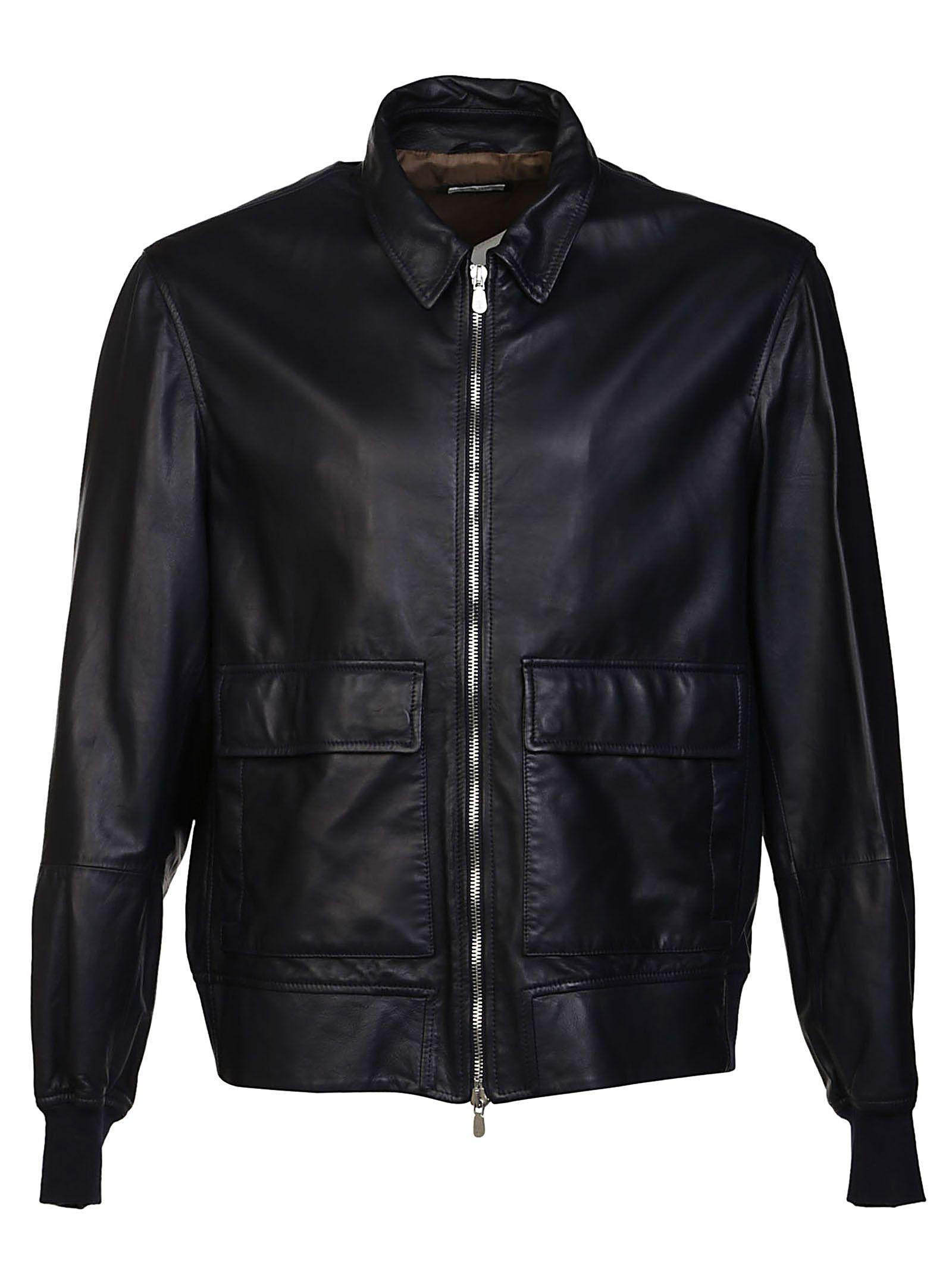 Brunello Cucinelli Ribbed Trim Leather Jacket