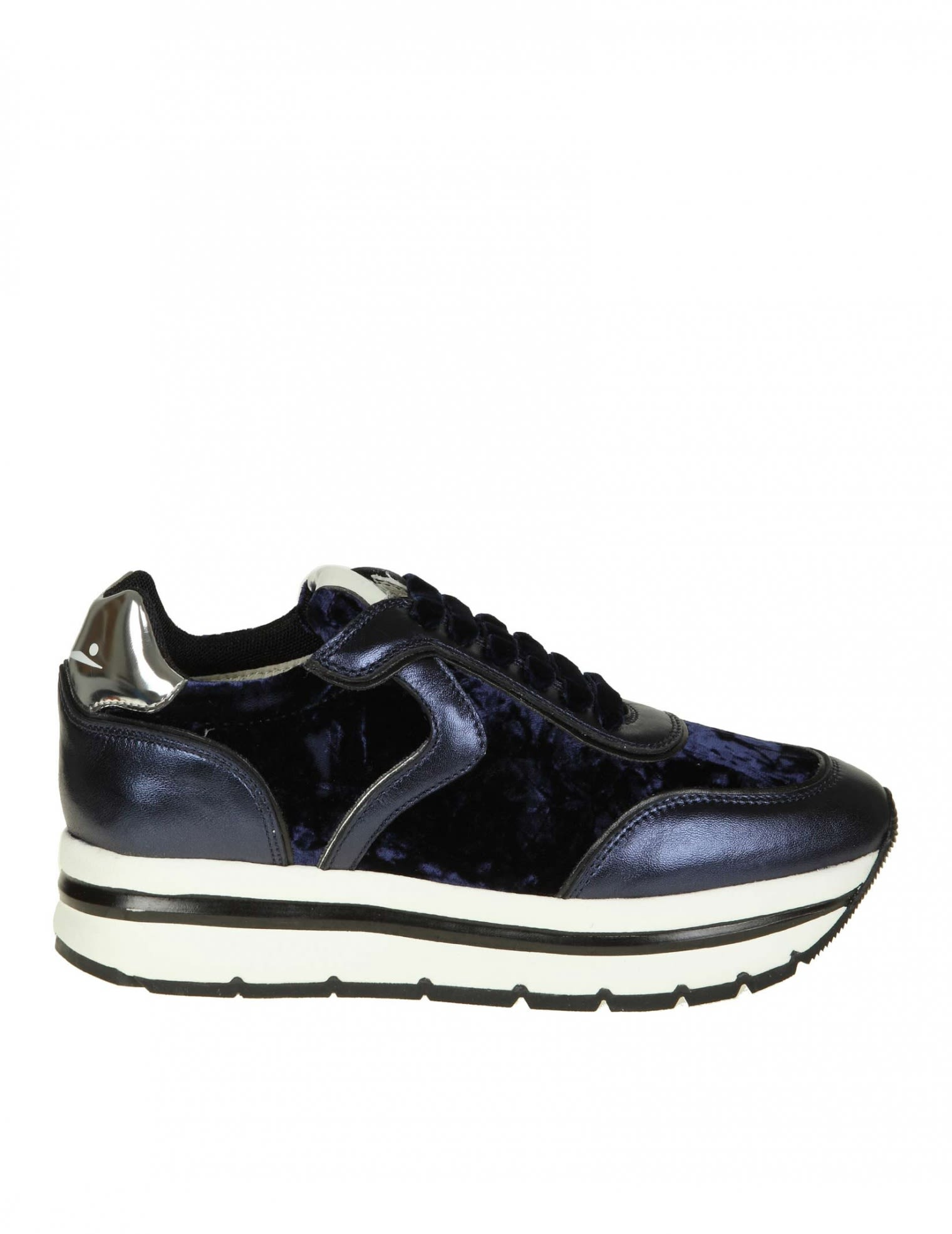"Voile Blanche Leathers ""MAY"" SNEAKERS IN LEATHER AND VELVET COLOR BLUE"