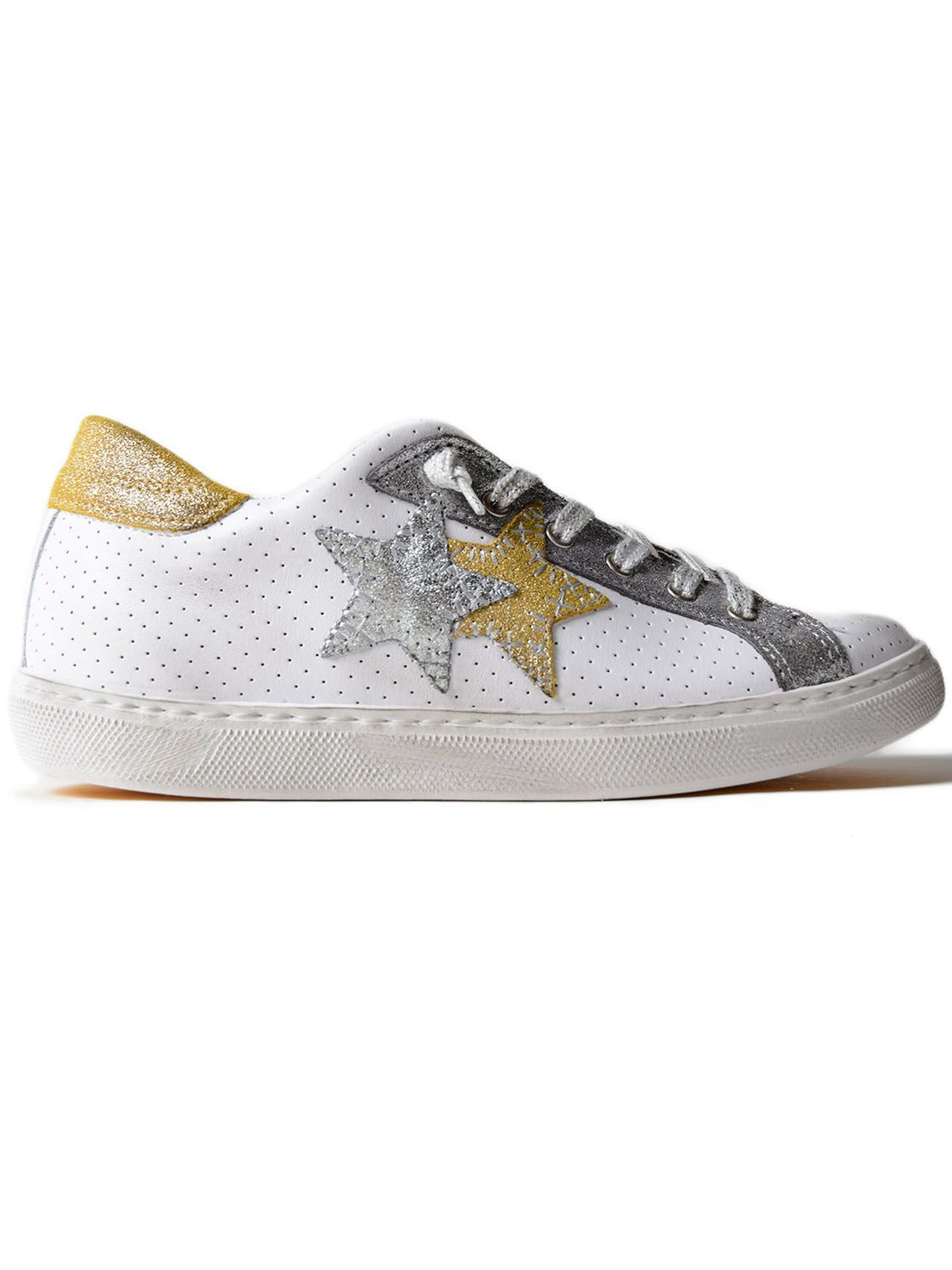 2STAR Sneaker Low in White/Silv/Gold