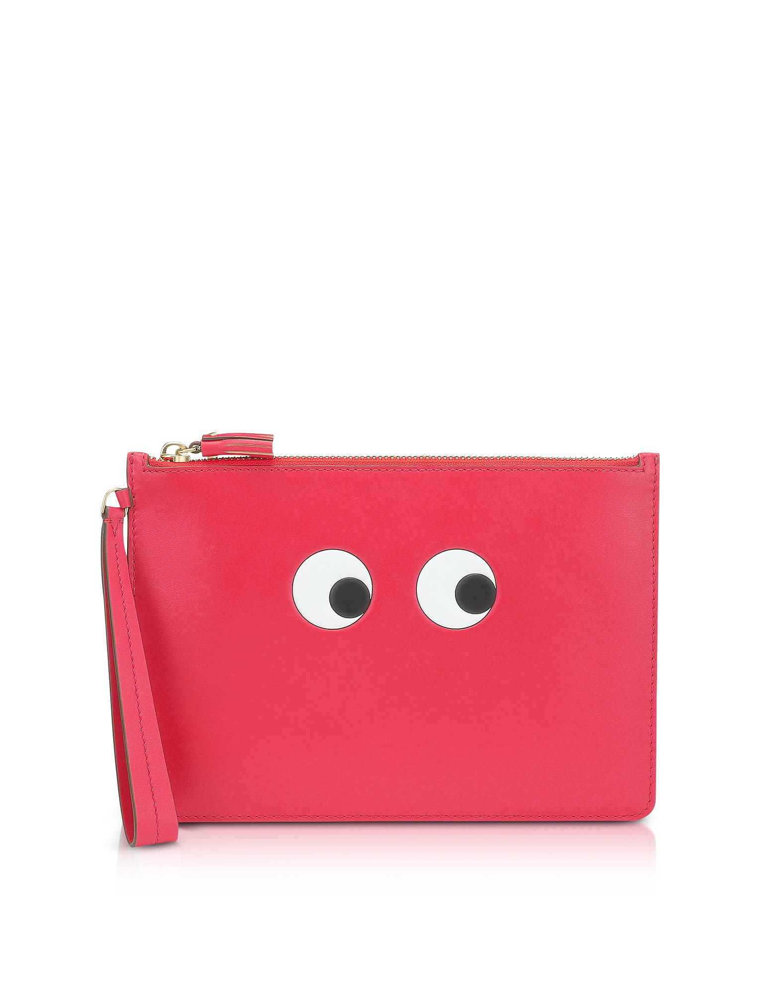 Lollipop Circus Leather Eyes Zip-Top Pouch in Red