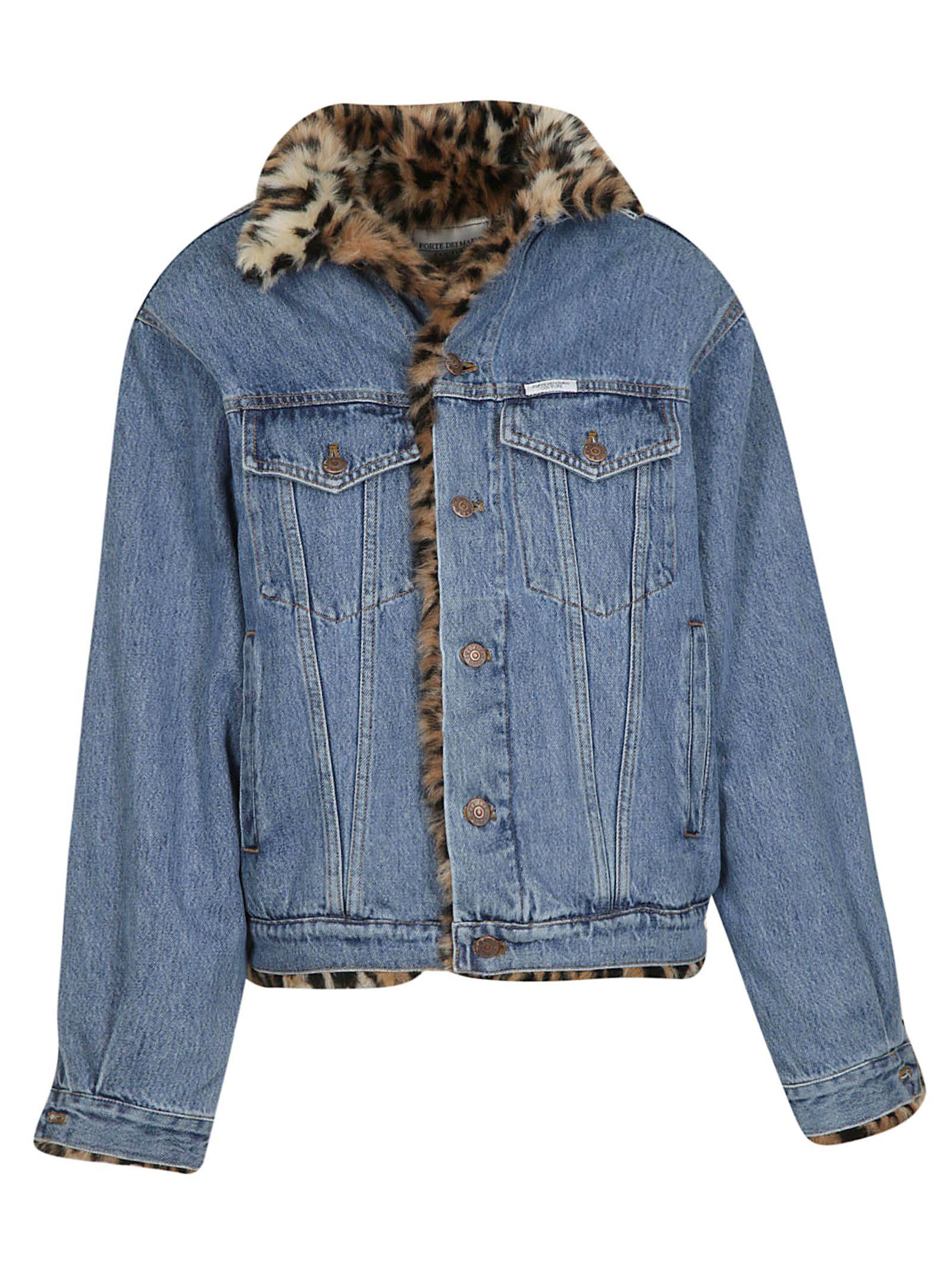 FORTE COUTURE Forte Dei Marmi Couture Denim Jacket in Denim/Maculato