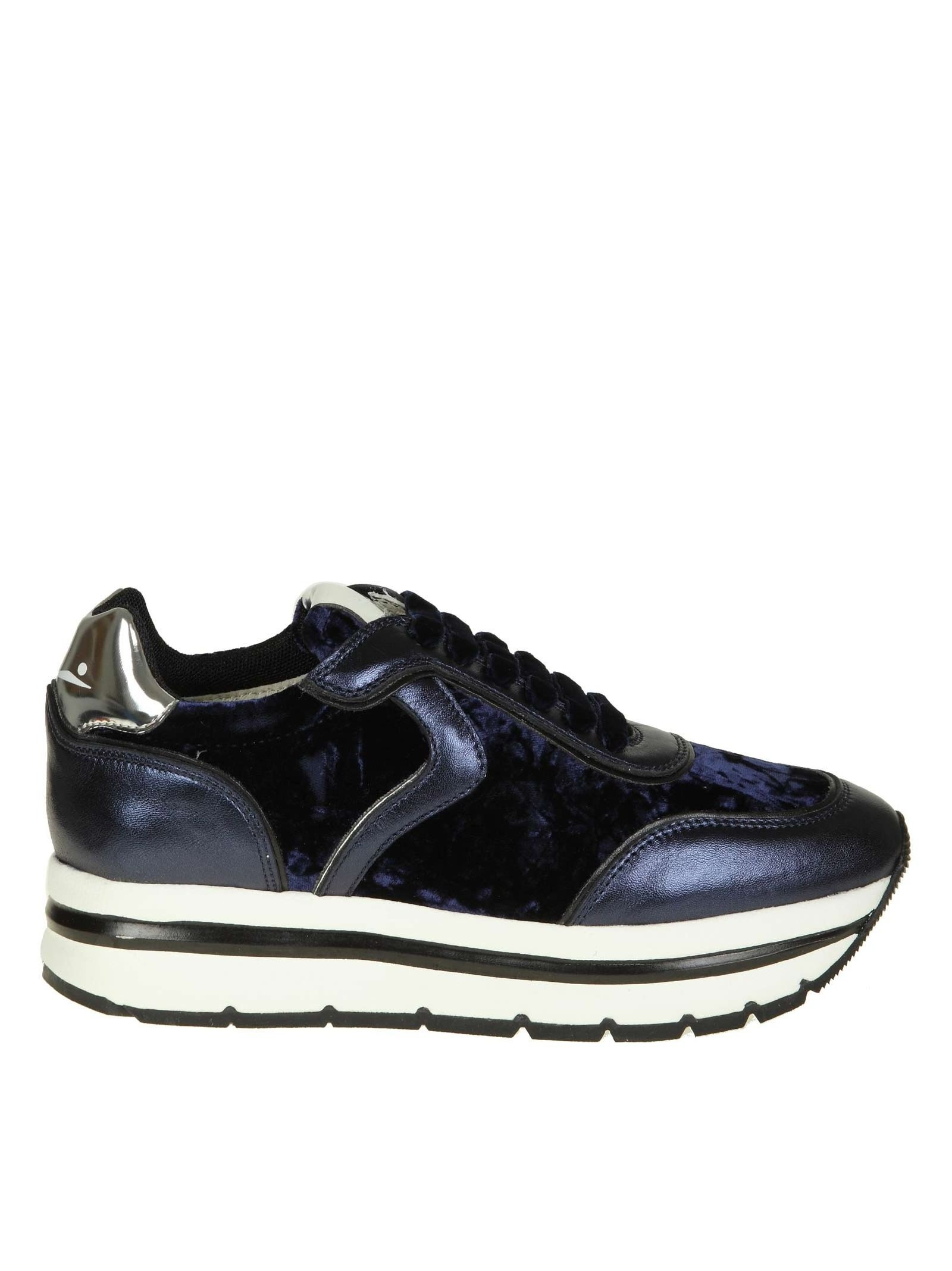 """Voile Blanche """"MAY"""" SNEAKERS IN LEATHER AND VELVET COLOR BLUE"""