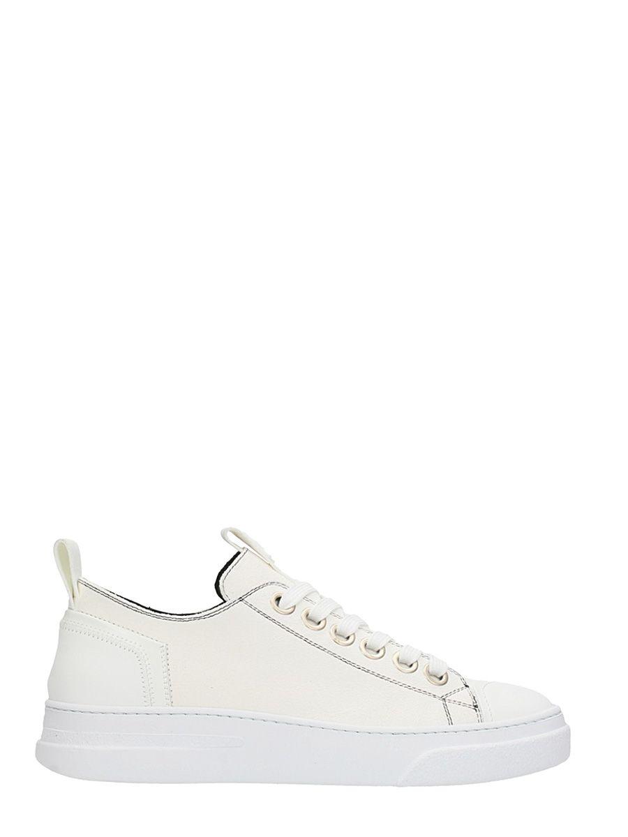 Bruno Bordese Bike White Leather Sneakers