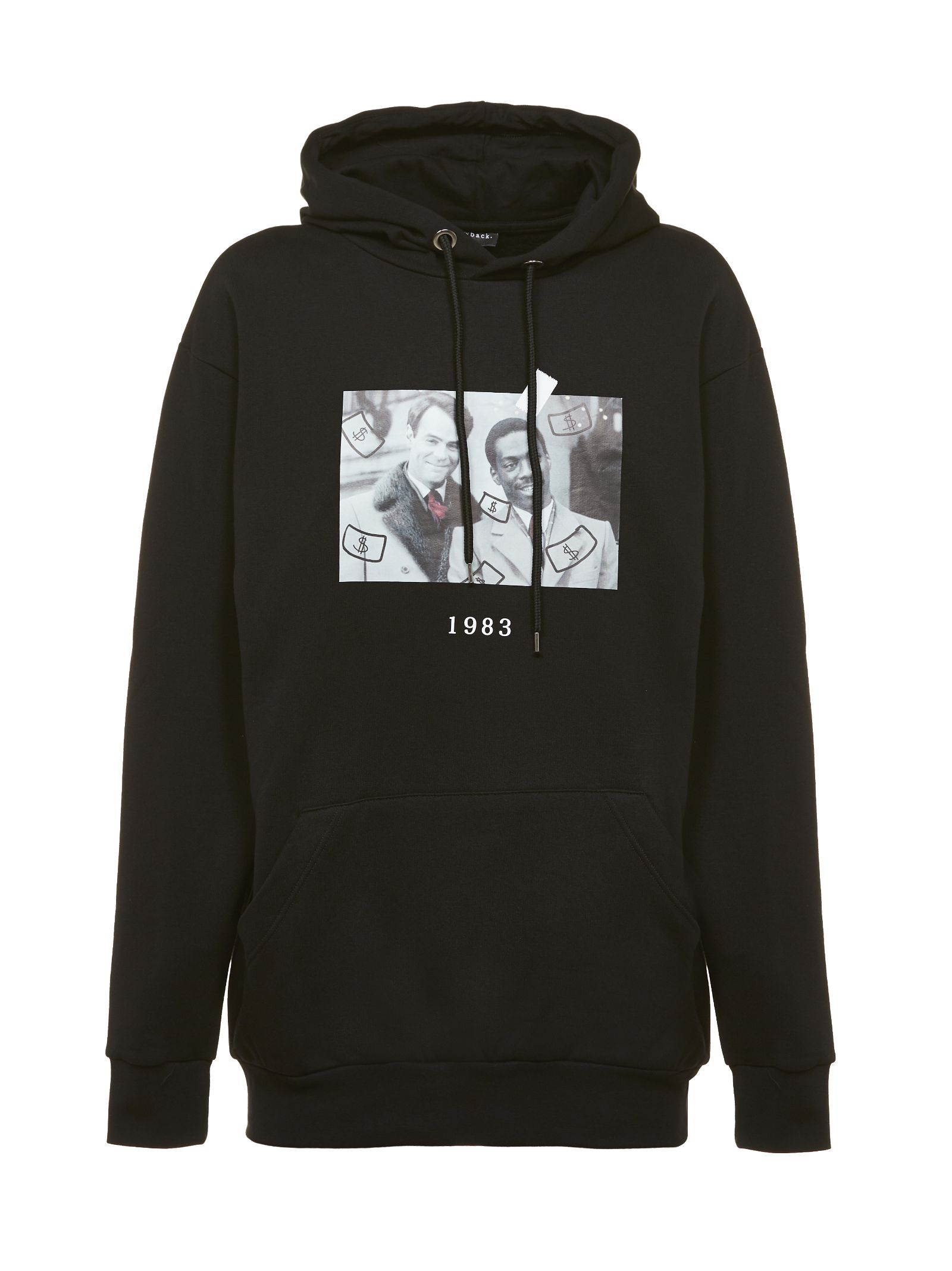THROWBACK Printed Hoodie in Nero