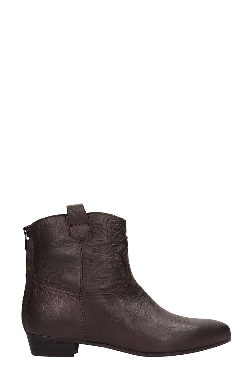 Texan Brown Leather Ankle Boots
