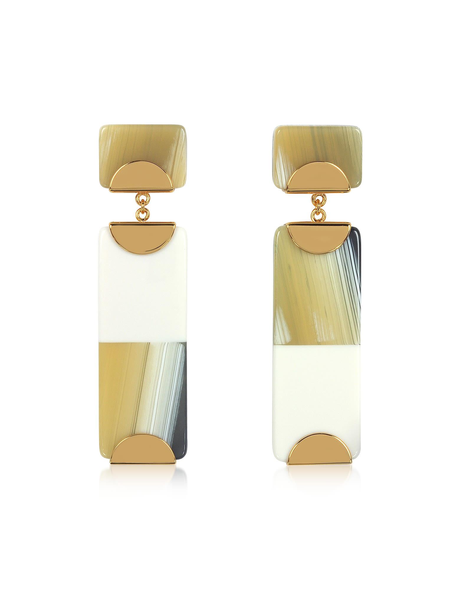 tory burch -  Resin Color-block Drop Earrings