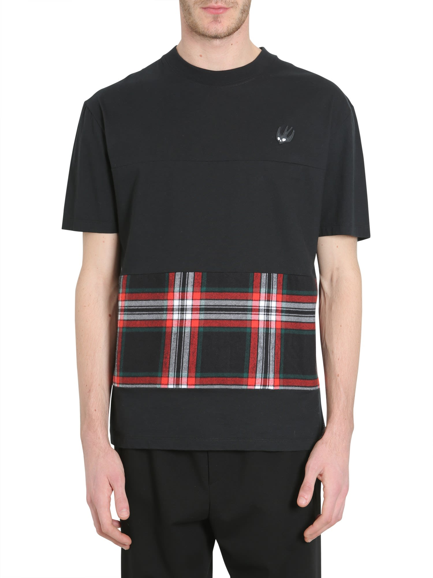 MCQ BY ALEXANDER MCQUEEN T-SHIRT WITH TARTAN INSERT