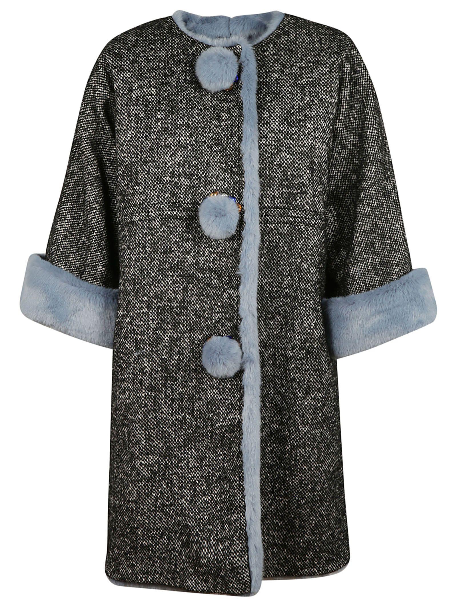 Dolce Gabbana Fur Trim Oversized Coat in Multicolored