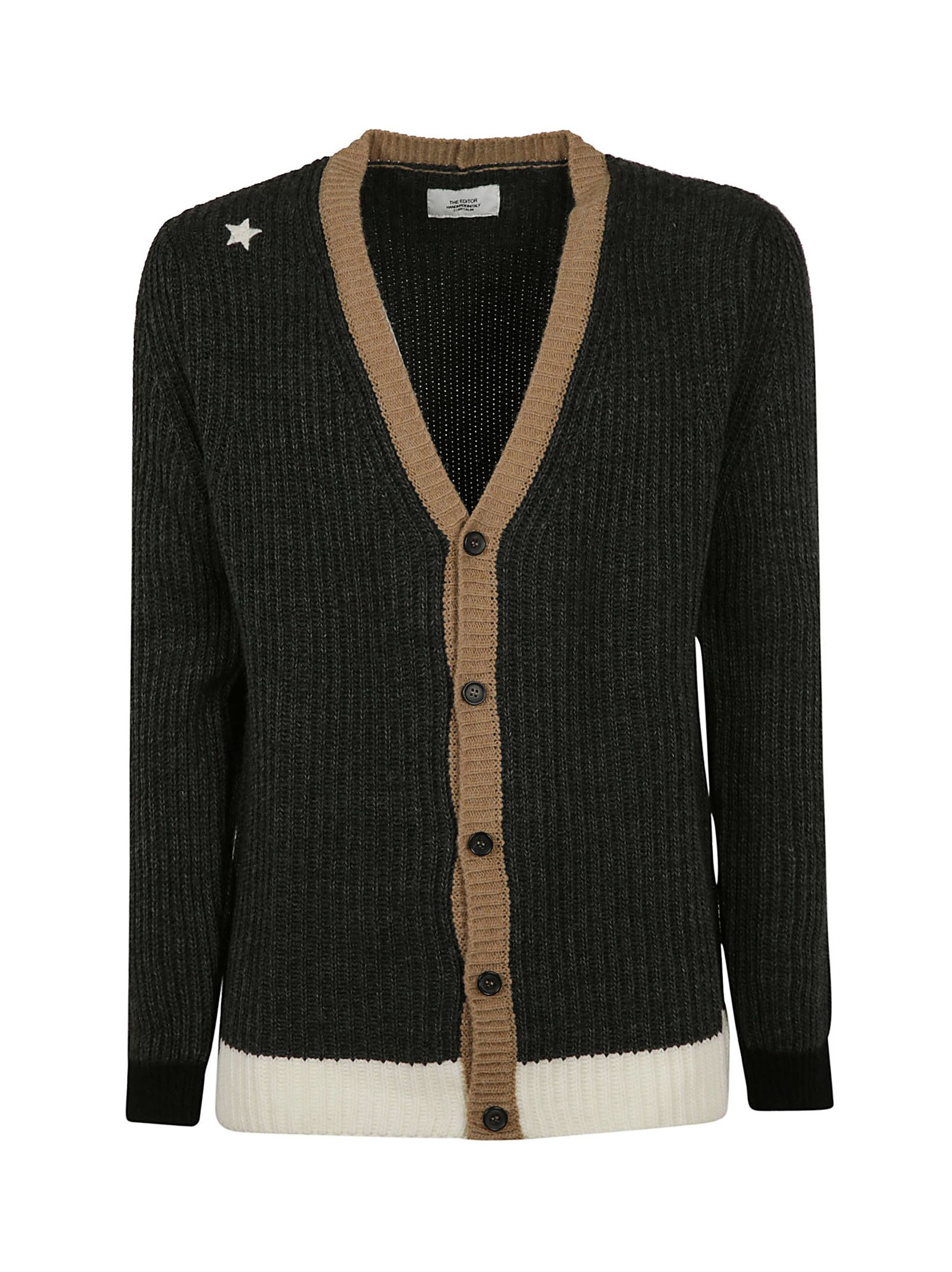 THE EDITOR Knitted Cardigan in Black