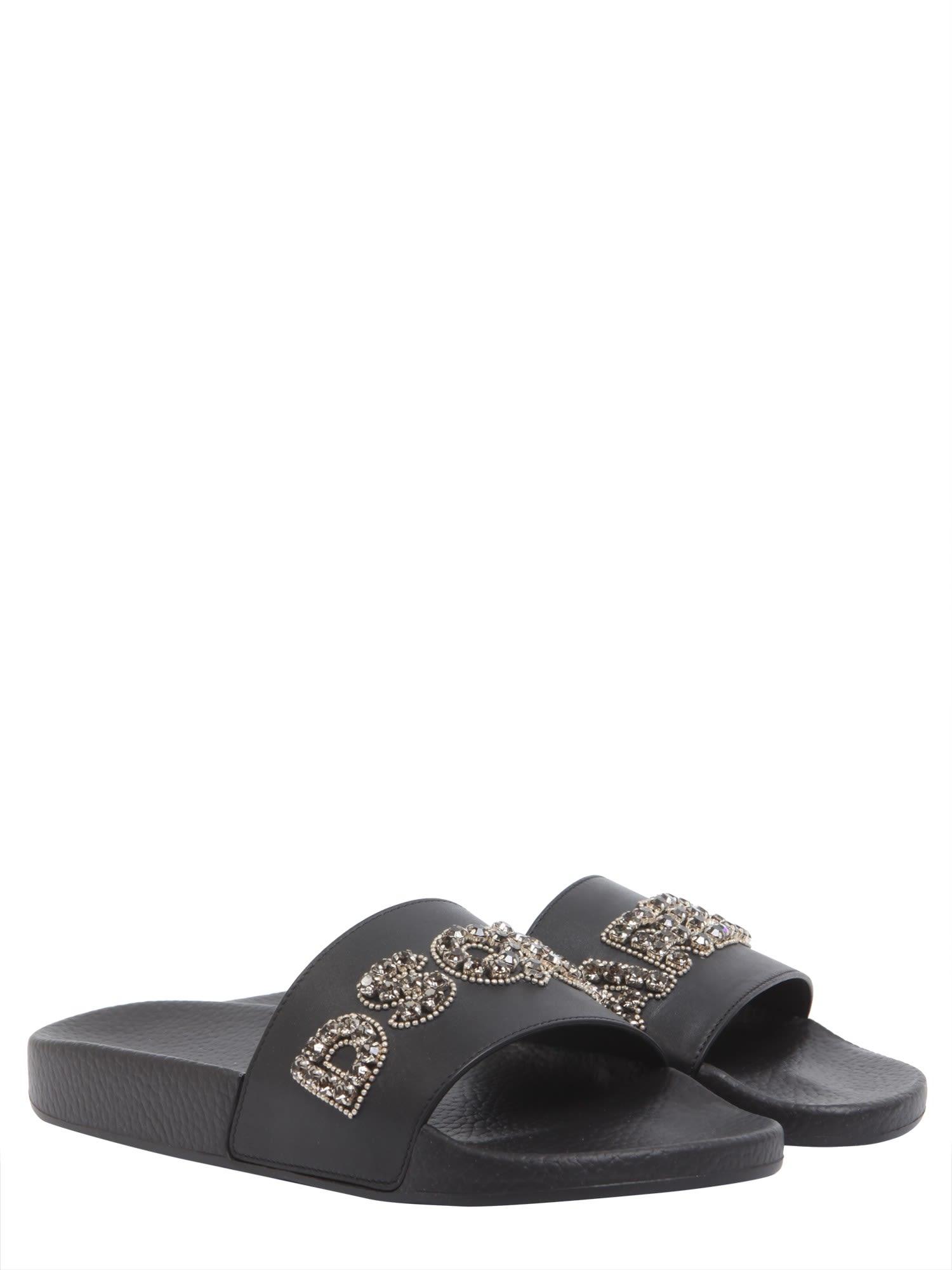 Dsquared2 Slide sandals with embellished logo Y3U4sVw