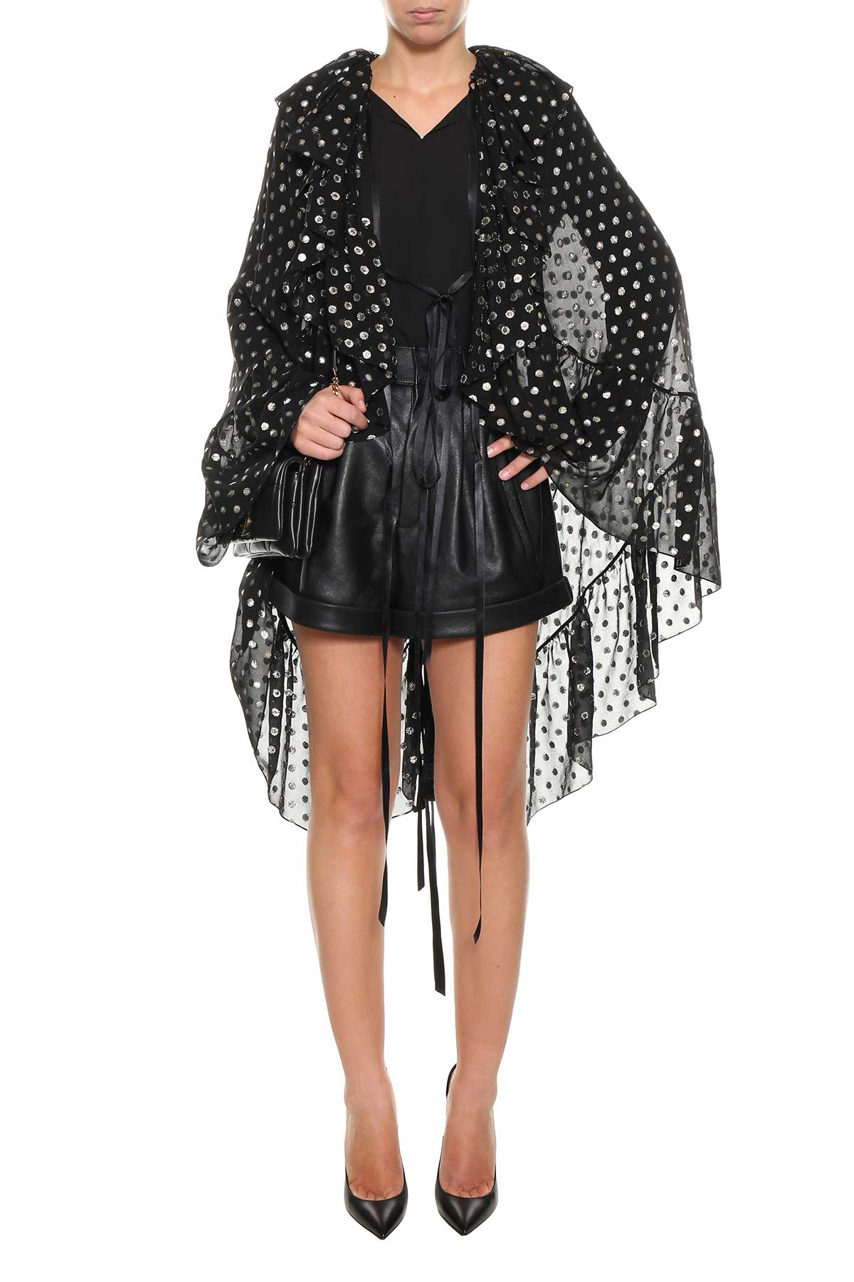 Free Shipping Cost Polka dots cape shirt Saint Laurent Great Deals For Sale Cheap Deals Free Shipping Low Cost M882jW3y6V