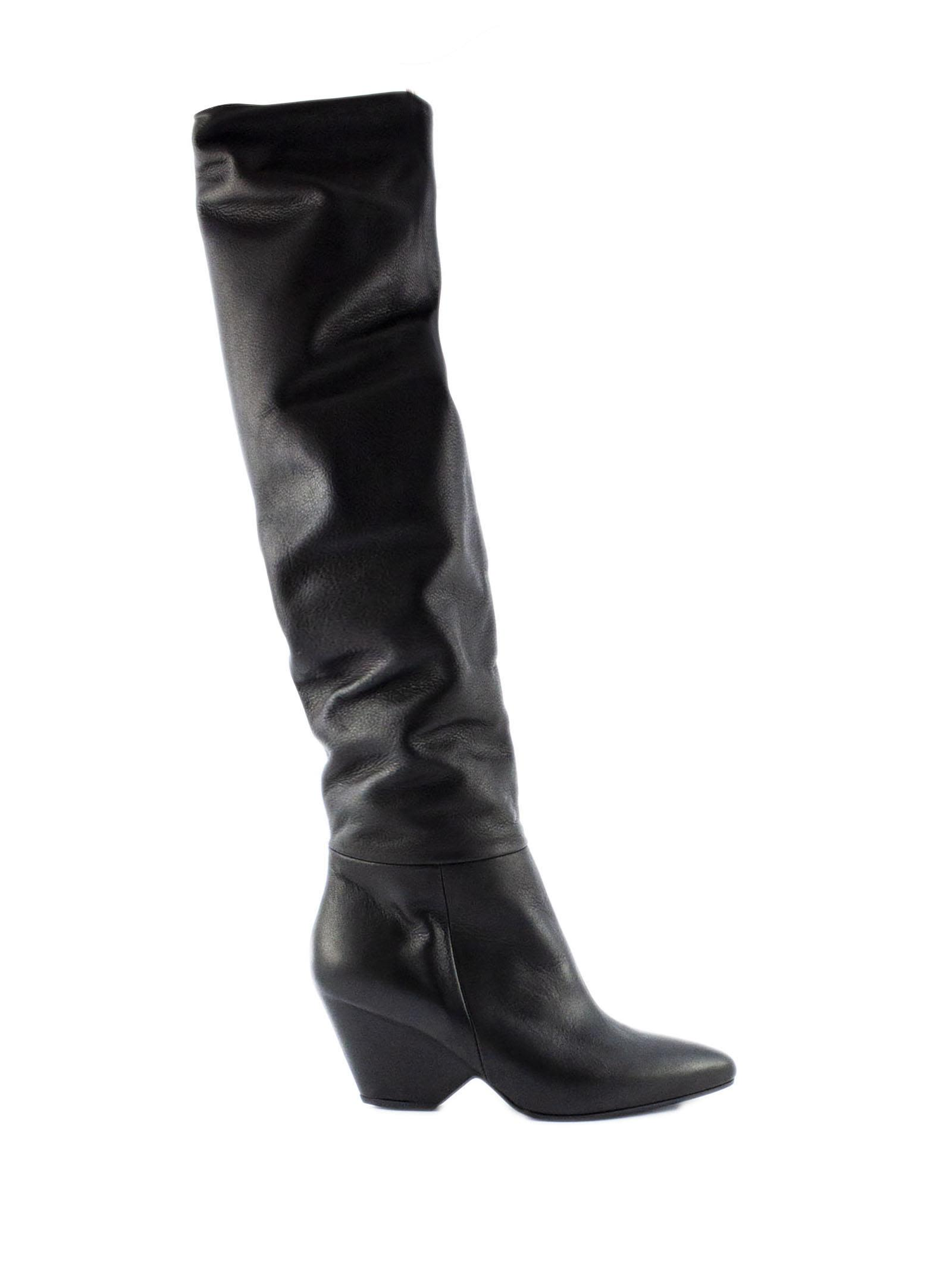 VIC MATIE Black Stretch Leather Boots. in Nero