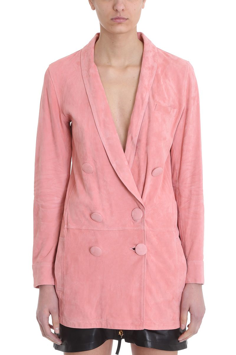 numerootto Delfina Pink Suede Leather Jackets