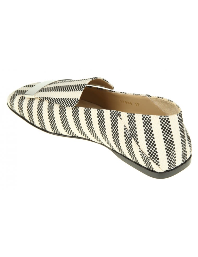 Sergio Rossi Loafers In And White Woven Canvas With Metal Plate 2018 Cheap Price Cheap Sale Supply tljALY