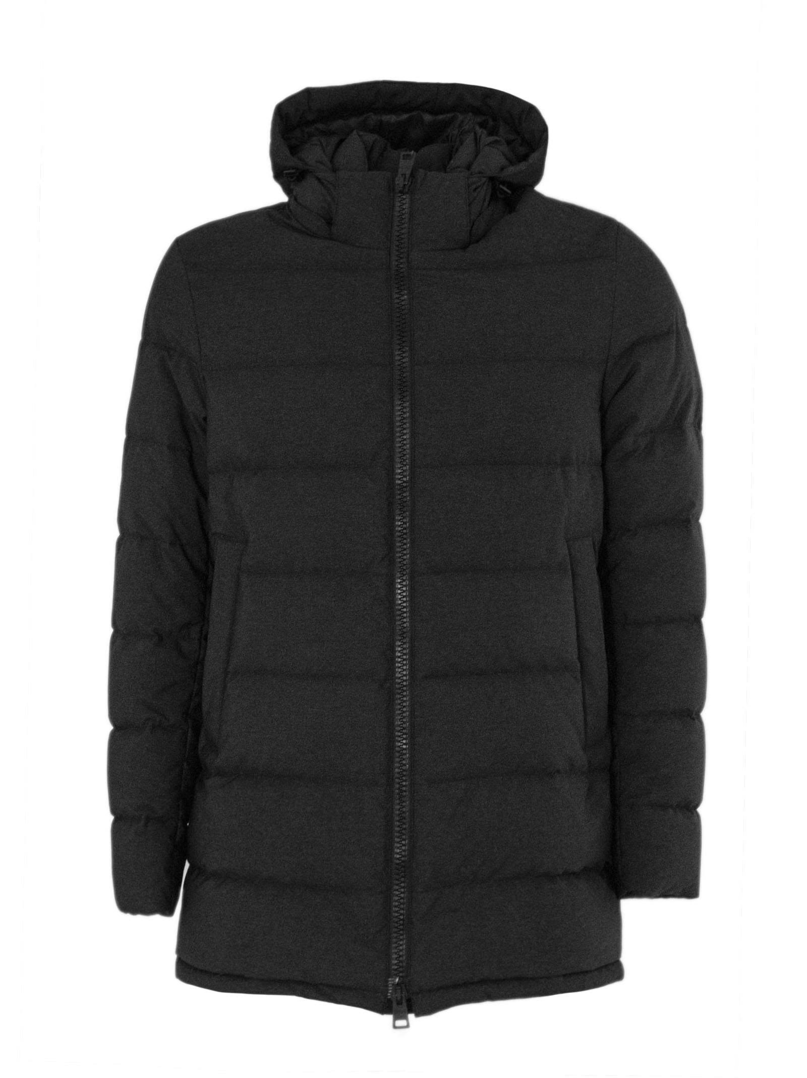 Anthracite Feather Down Hooded Padded Coat.