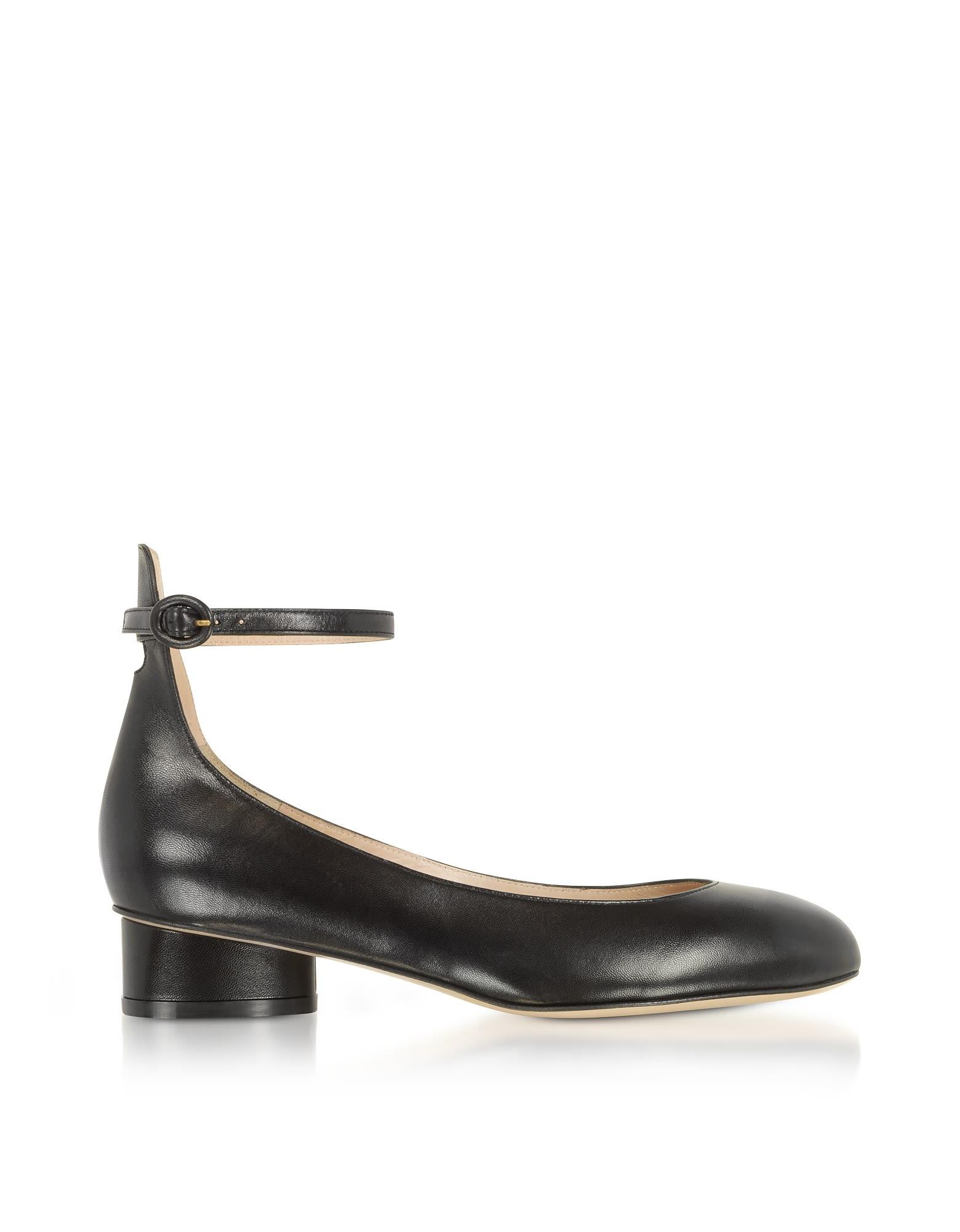 ab848146823a Stuart Weitzman Polly Black Leather Mid-Heel Pump