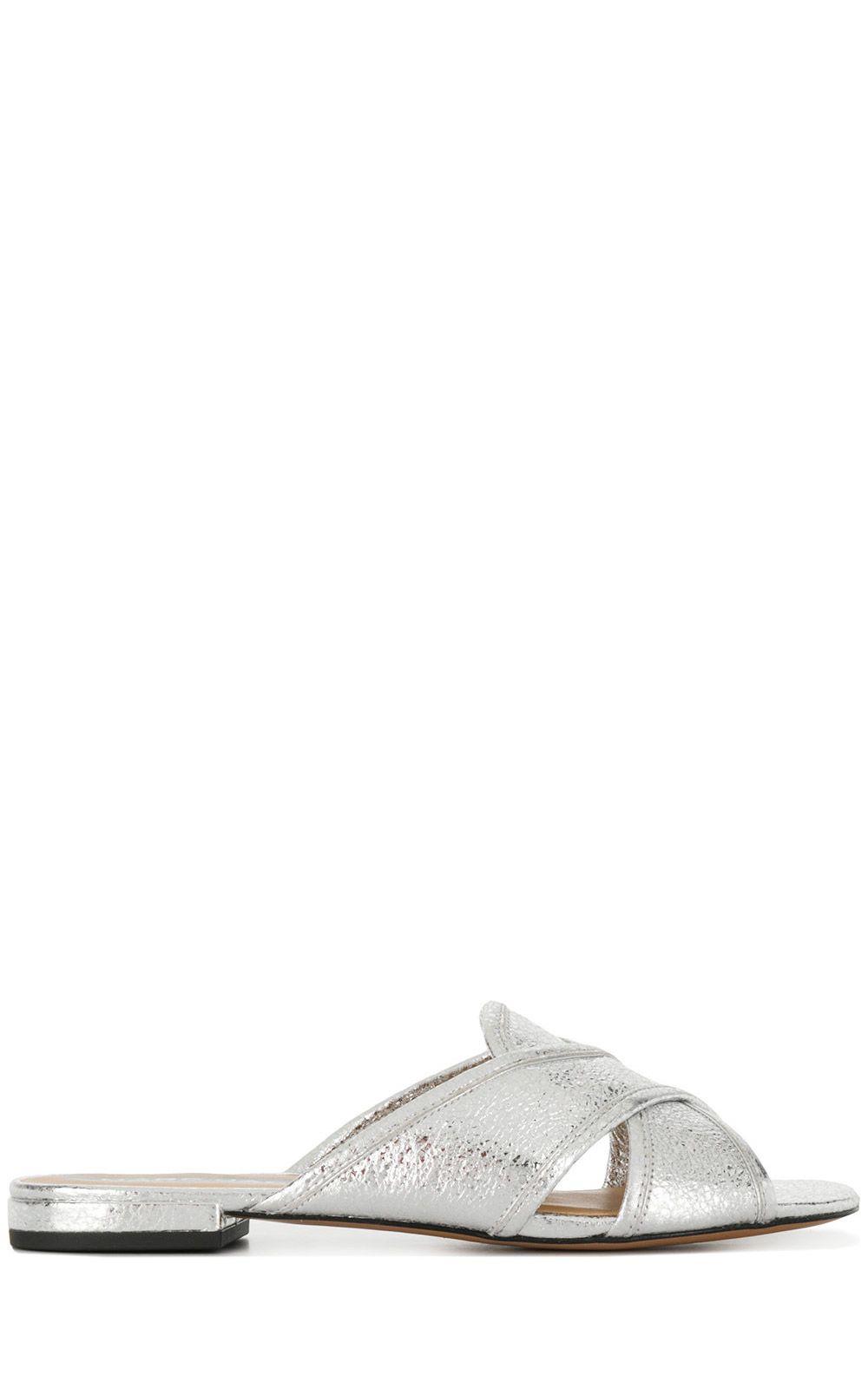 Aurora crackled metallic-leather flat sandals Marc Jacobs 2zVx7Z