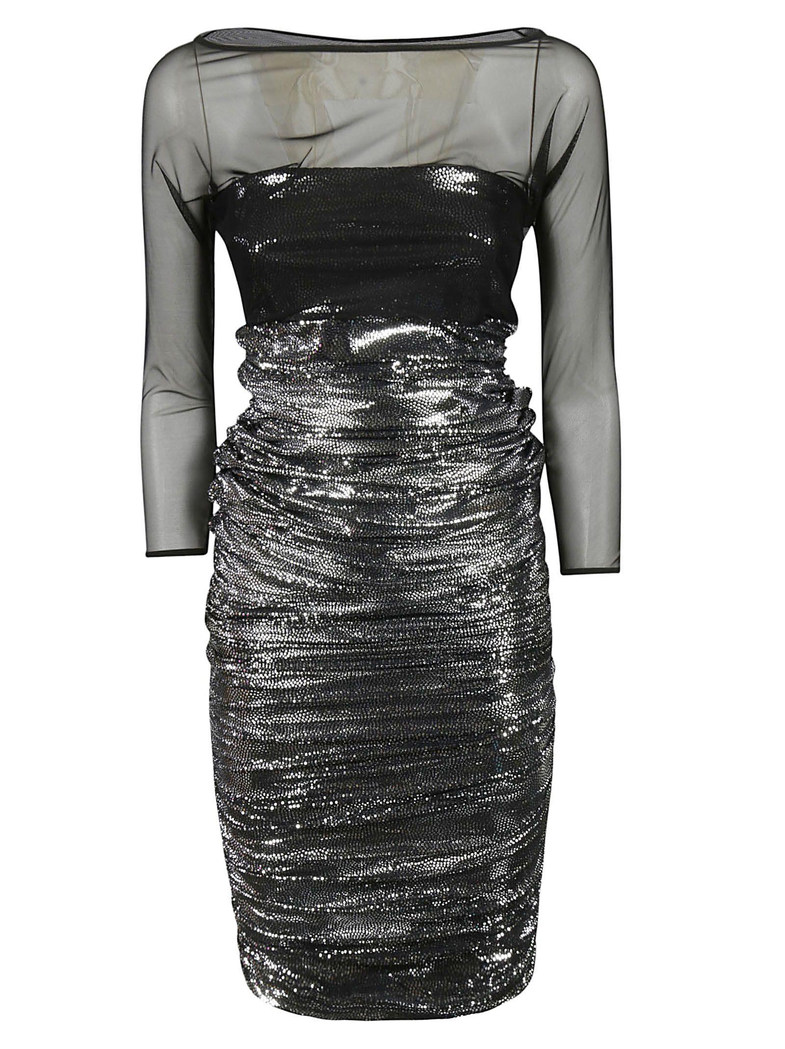 LA PETIT ROBE DI CHIARA BONI Lace Detail Dress in Nero/Argento