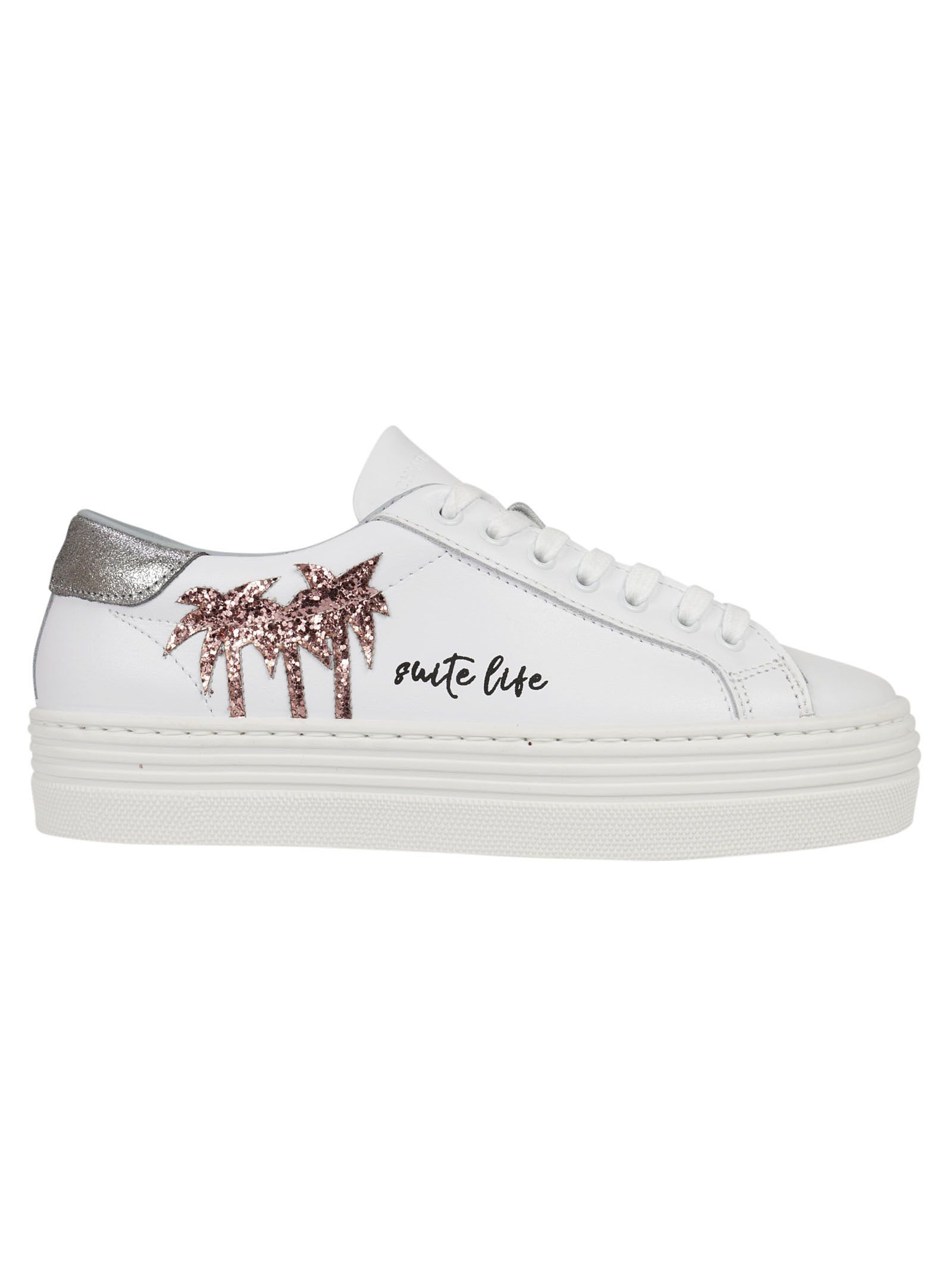 Chiara Ferragni Suite White Leather Sneaker With Glitter Palms