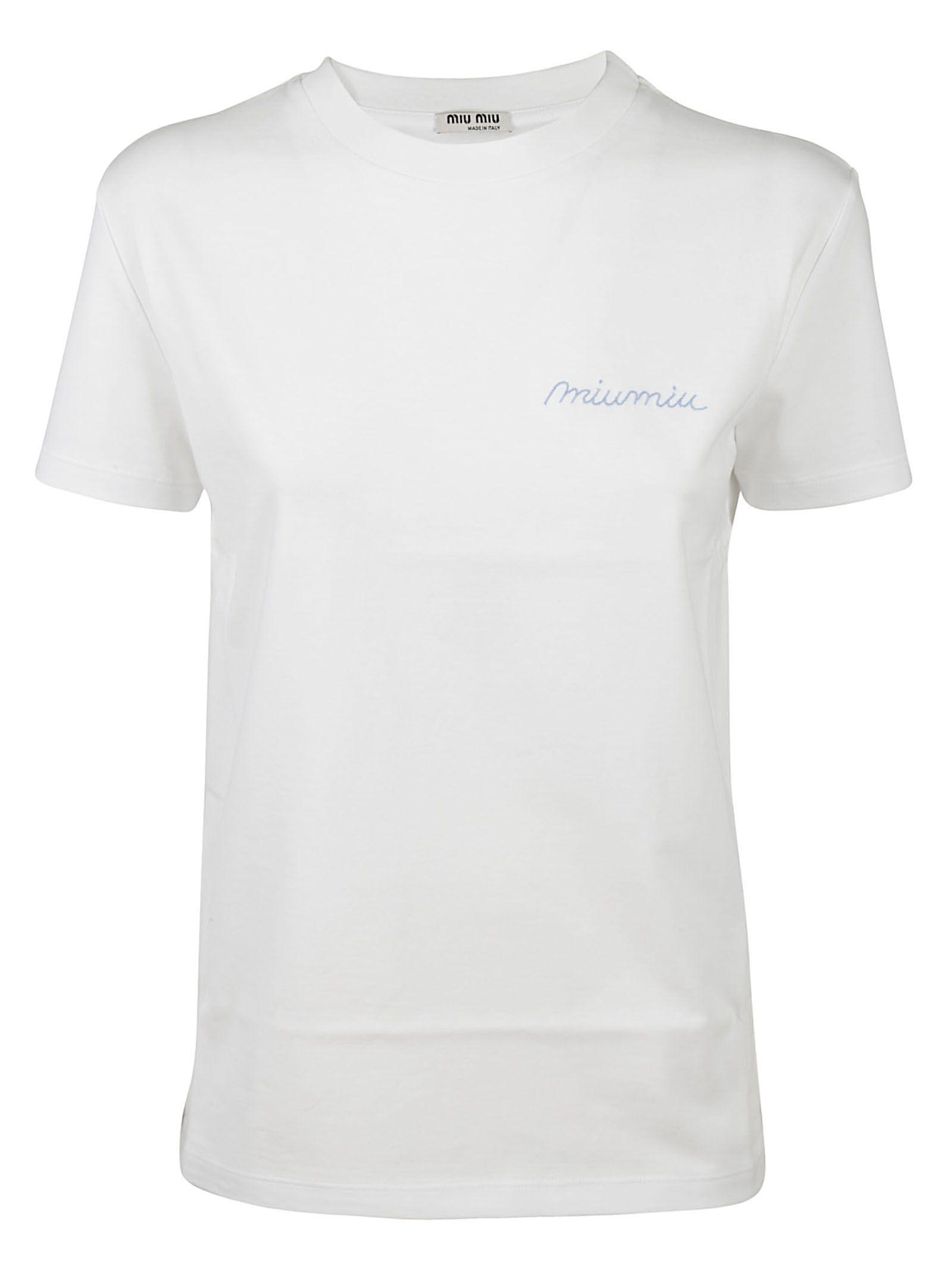 Miu miu miu miu logo embroidered t shirt bianco women for Miu miu t shirt