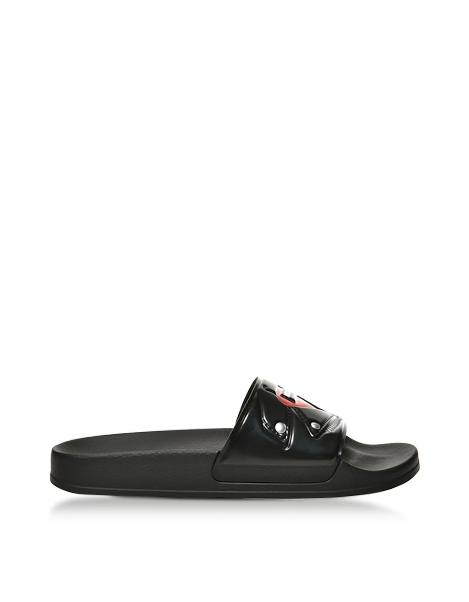 Moschino Shoes, Biker Jacket Printed Pvc Pool Sandals